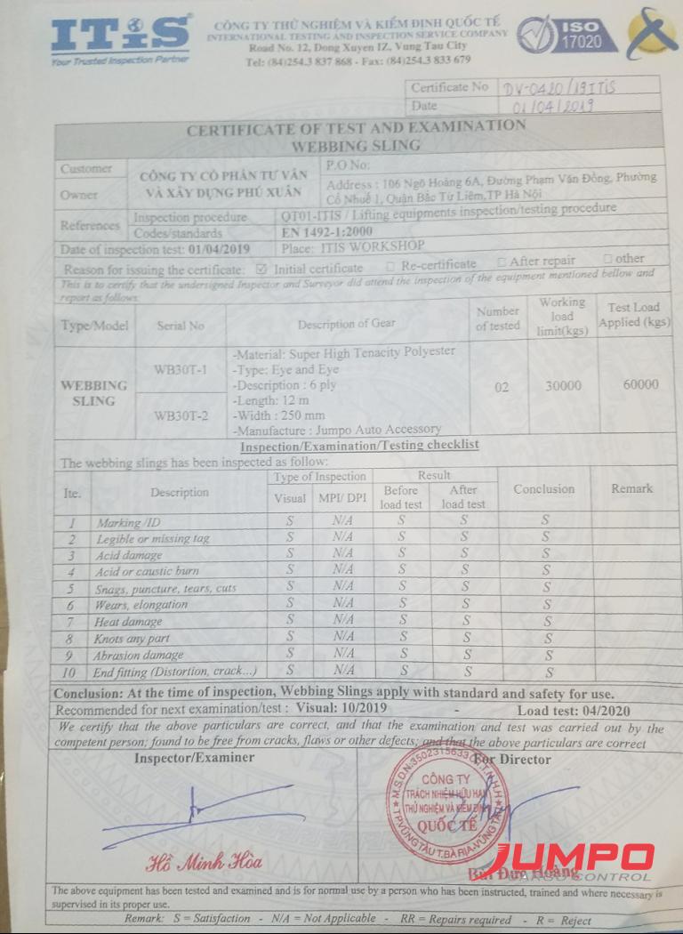giấy chứng nhận kiểm định