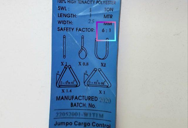 Hệ số an toàn 6:1 dây cáp vải là gì?